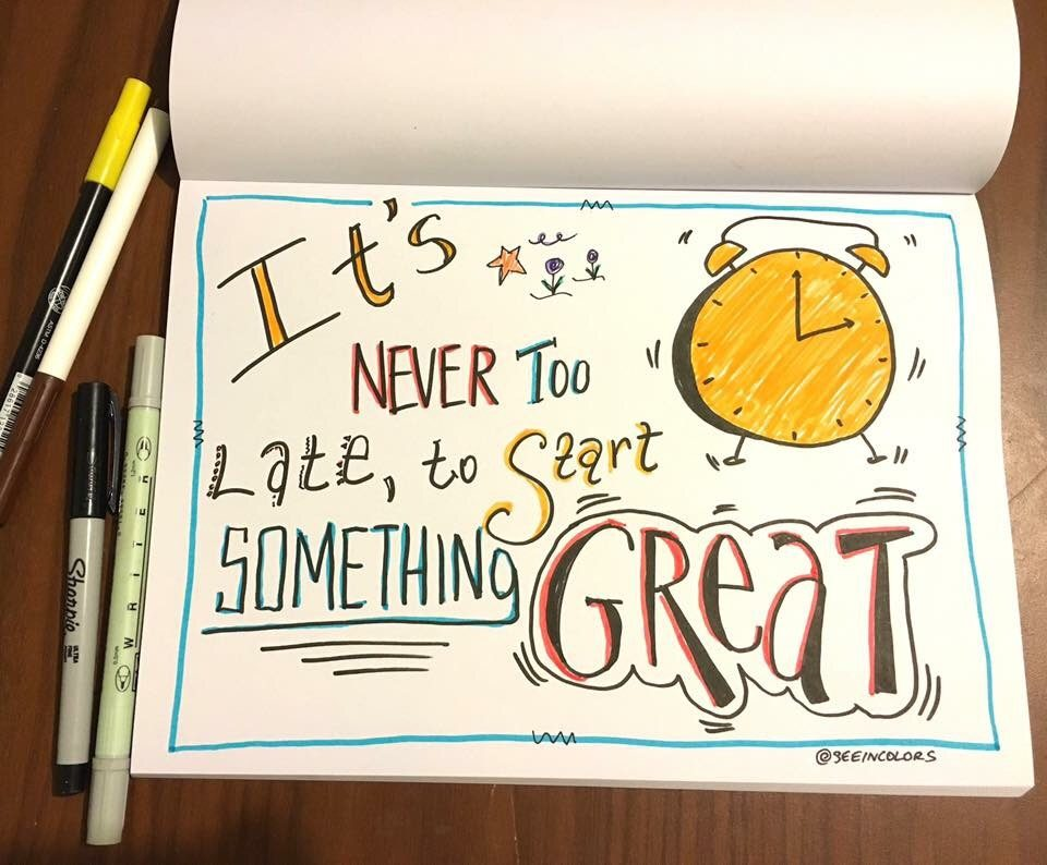Never too late, Sketchnote, Lisa Nelson Washington DC